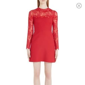 Valentino | Lace Trim Long Sleeve Mini Dress